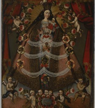 Angels bearing flowers and garlands surround a light-skinned Virgin Mary holding the Christ Child. Her voluminous gold robes give her a triangular form. The two figures are painted within a red-curtained interior.