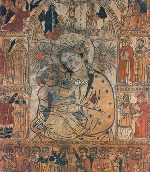 A woodcut depicts a female-figure holding a small, haloed child close. Hand-colored vignettes surround the group in delineated architectural spaces with patterned borders. The top vignette shows Mary at Christ's crucifixion.