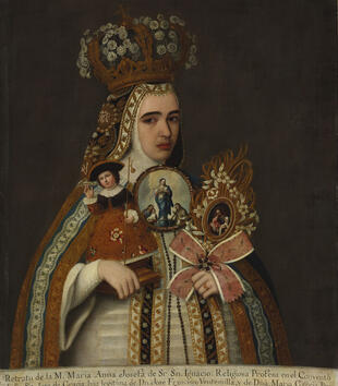 A young, light-skinned woman wearing an ornate gold crown and patterned cape looks out at the viewer in this oil painting. She holds an elaborately framed image of the Holy Family, a second portrait of Mary, and a small sculpture of Christ.