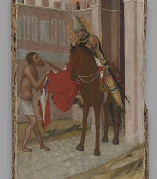 A panel painting depicts a light-skinned, naked beggar approaching a haloed knight on a brown horse. He grasps at the knight's red cloak. The pair stand in the pink stone crenellated walkway of a fortified tower.