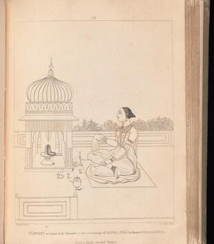 A book is opened to an engraving of a woman performing ritual devotion in front of an onion-dome shrine. She sits cross-legged with one cloth placed over her right hand. Incense is lit in front of the shrine.