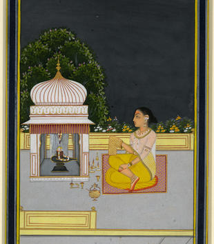 Half of a deeply pigmented painting depicts a dark night sky and flowering trees. A terrace scene fills the other half. A woman sits on the terrace and performs ritual devotion before a white shrine. Low yellow walls are on either side of the terrace.
