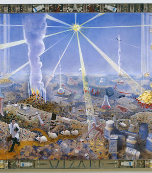 "A painting depicts a surreal landscape overun with hills of pills, vials of blood, patients in hospital beds, lab rats, and gold coins. A man in a lab coat walks across the scene, which is labelled ""WIZARD."""
