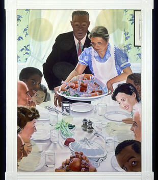 A painting depicts a diverse group of people of different ages and races gathered around a set table. An older light-skinned woman brings a platter heaped with pills and needles to the table. A dark-skinned man looks over her shoulder at the platter.