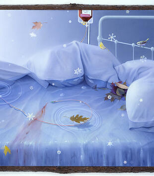 A painting shows a hospital bed half-submerged in water and bathed in a blue glow. A blood bag IV standing next to the bed hangs down into the water. Snowflakes and leaves trickle onto the bed.