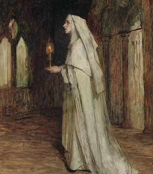 A dark painting depicts a light-skinned, white-robed nun holding a lit candle. She approaches something out of frame on the left.