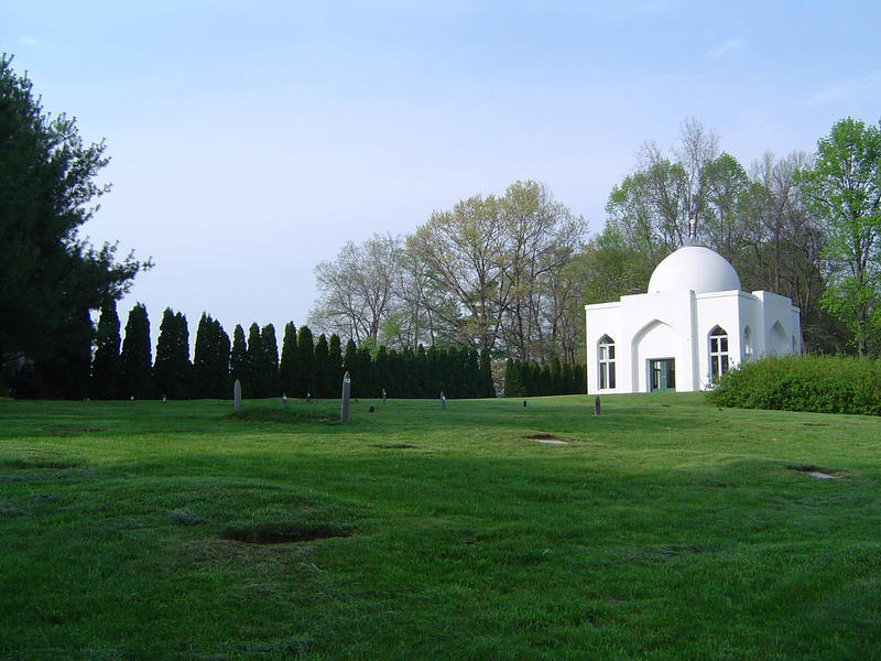Fig. 2 View of the mazar and garden from the cemetery