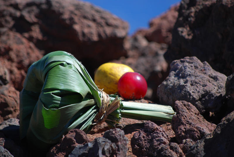 Fig. 21 Offerings at ʻahu at highest point of summit of Mauna Kea (Mauna a Wākea), Hawai'i Island, August 2014. Photo: ©Sally Promey