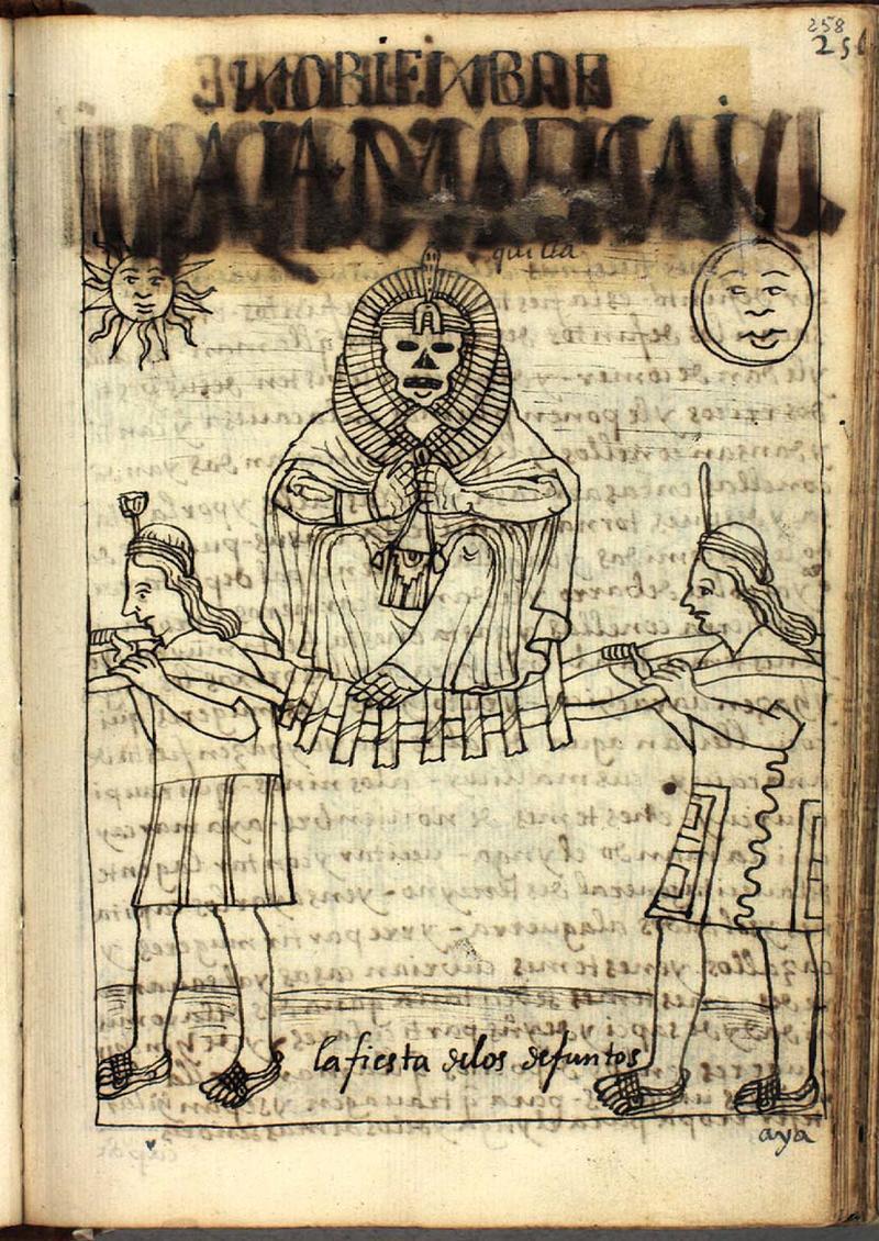 """Fig. 18 """"La fiesta de los defuntos,"""" The Royal Library - Copenhagen, GKS 2232 4º : Guaman Poma, Nueva corónica y buen gobierno (1615), p. 258, drawing no. 100"""
