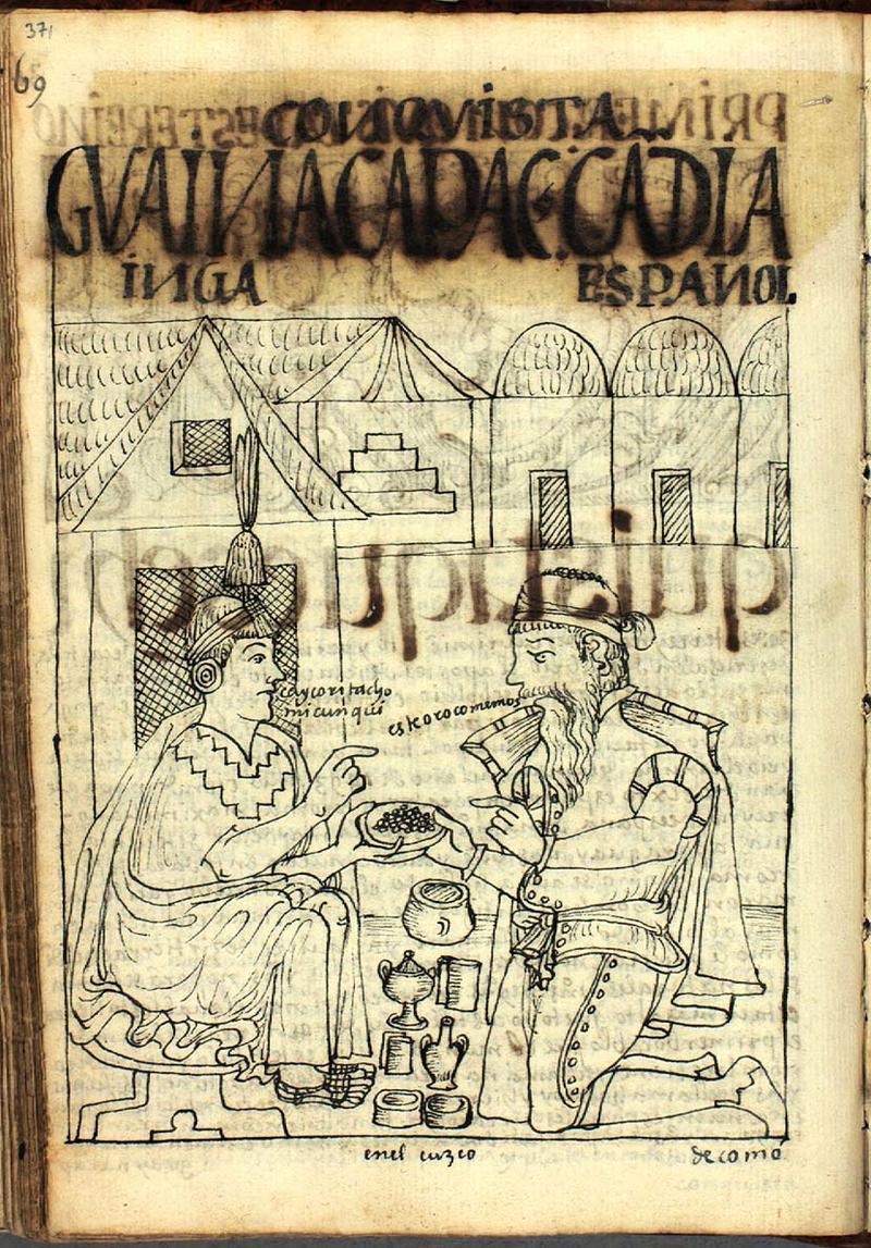 Fig. 2 Huayna Capac and Pedro de Candía, The Royal Library - Copenhagen, GKS 2232 4º : Guaman Poma, Nueva corónica y buen gobierno (1615), p. 371, drawing no. 147