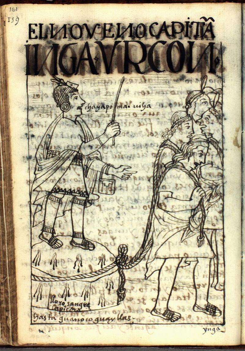 Fig. 21 A sayk'usqa stone cries tears of blood, The Royal Library - Copenhagen, GKS 2232 4º : Guaman Poma, Nueva corónica y buen gobierno (1615), p. 161, drawing no. 59