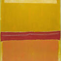 The rectangular swaths of color on a color field painting do not extend to the end of the canvas. A red stripe at the center lies below a larger section of yellow and above a hazy rectangle of orange.